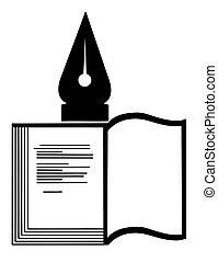 vettore, silhouette, di, il, libro, bianco, fondo