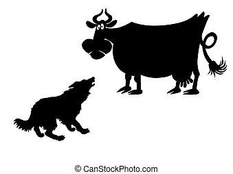 vettore, silhouette, di, il, mucca, bianco, fondo