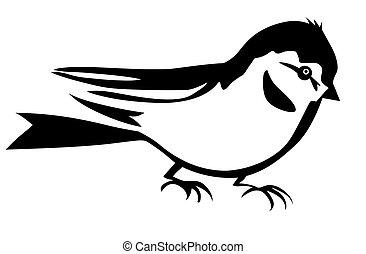 vettore, silhouette, di, il, piccolo, uccello, bianco, fondo