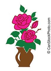 vettore, silhouette, di, il, rosa, bianco, fondo
