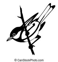 vettore, silhouette, di, il, uccello, bianco, fondo