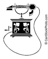 vettore, silhouette, di, il, vecchio telefono, bianco, fondo