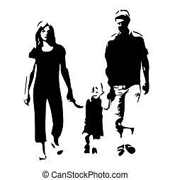 vettore, silhouette, famiglia