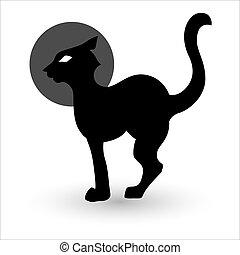 vettore, silhouette, gatto