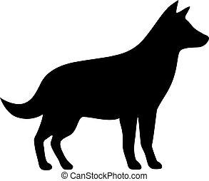 vettore, silhouette, icona cane