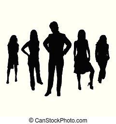 vettore, silhouette, illustrazione, persone