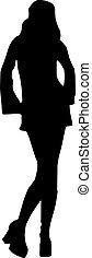 vettore, -, silhouette, moda, ragazze