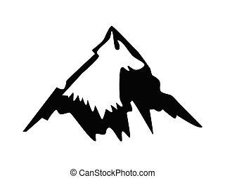 vettore, silhouette, montagna