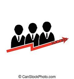vettore, silhouette, persone affari