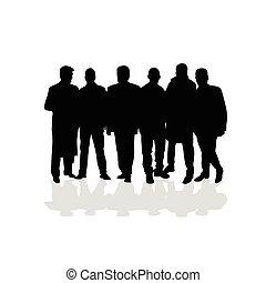 vettore, silhouette, persone