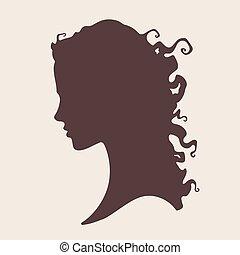 vettore, silhouette, riccio, ragazza, faccia