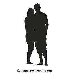 vettore, silhouette, romantico, coppia.