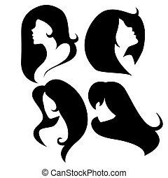 vettore, silhouette, set, cammeo, femmina
