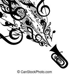 vettore, silhouette, simboli, tuba, musicale