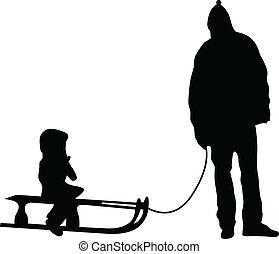 vettore, silhouette, sledding