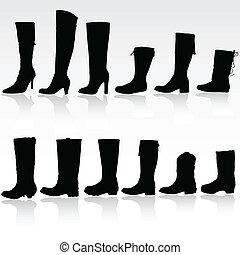 vettore, silhouette, stivali