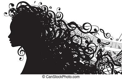 vettore, silhouette, testa, simboli, femmina, musicale