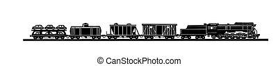vettore, silhouette, treno, fondo, vecchio, bianco