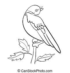 vettore, silhouette, uccello, ramo, sedere