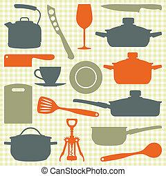 vettore, silhouette, utensili, cucina
