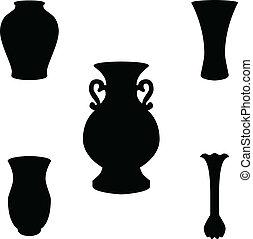 vettore, silhouette, vaso