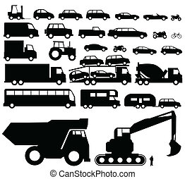 vettore, silhouette, veicolo