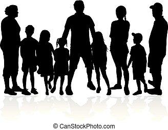 vettore, silhouettes., famiglia, work.