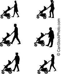 vettore, silhouettes., lavoro, famiglia