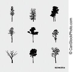 vettore, silhouettes., set, albero, illustration.