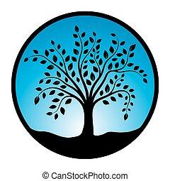 vettore, simbolo, albero, illustrazione, fondo, cerchio, bianco