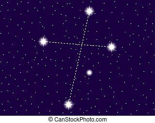 vettore, sky., stellato, segno., galaxies., space.,...