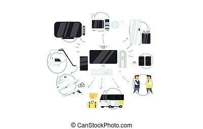vettore, smartphone, via, tecnologia informatica, apparecchi, iot, illustrazione, collegamento fili, amministrazione, sincronizzazione, linea, casa, o