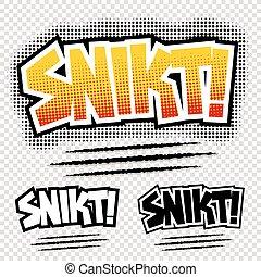 vettore, 'snikt', comico, illustrazione