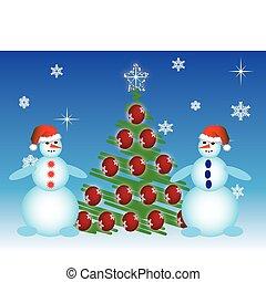 vettore, snowmen, due