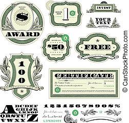 vettore, soldi, cornice, e, ornamento, set