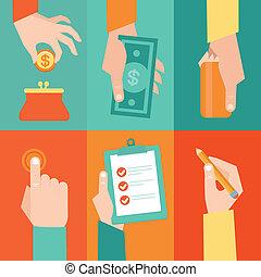 vettore, soldi, set, contratto, mani