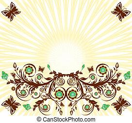 vettore, sole, floreale, fondo, ornamento, farfalle, illustrazione