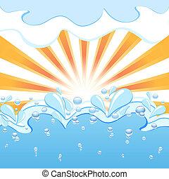 vettore, sole, onde, gocce, illustrazione, acqua