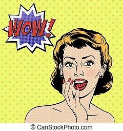 vettore, sorpreso, donna, in, il, arte popolare, comics,...