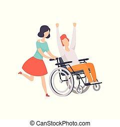 vettore, sostenere, vita, amico, persona, lei, donna, carrozzella, spinta, giovane, illustrazione, invalido, handicappato, correndo, pieno, fondo, ragazza, godere, uomo, bianco, felice
