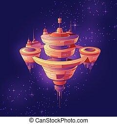 vettore, spazio, cartone animato, stazione, starship, futuro, o