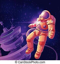 vettore, spazio esterno, futuro, astronauta, cartone animato