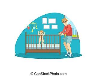 vettore, spendere, illustrazione, suo, bambino, tempo, padre...