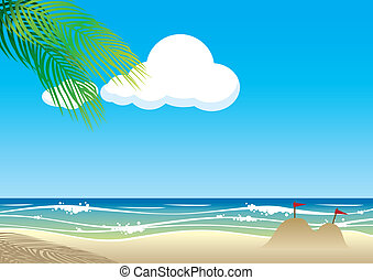 vettore, spiaggia, fondo