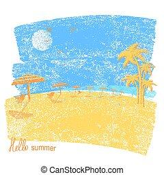 vettore, spiaggia, palms., ombrelli, tropicale, marina, vacanza, simbolo