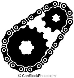 vettore, sprocket, industriale, silhouette, catena