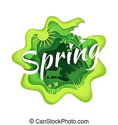 vettore, stagione primaverile, stile, composizione, illustrazione, carta, arte