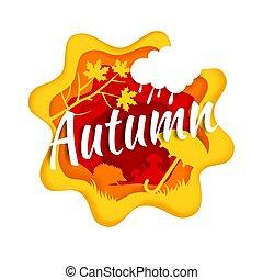 vettore, stagione, stile, composizione, autunno, illustrazione, carta, arte