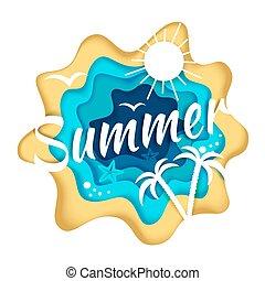 vettore, stagione, stile, composizione, illustrazione, carta, arte, estate
