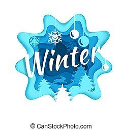 vettore, stagione, stile, composizione, illustrazione, carta, inverno, arte